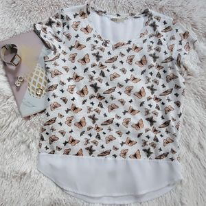 Maison Jules White Butterfly Print Tee Size Small